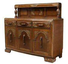 Antique English Oak Buffet Back Sideboard, c 1930