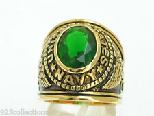 12x10 mm United States Navy Military May Green Emerald Stone Men Ring Size 11