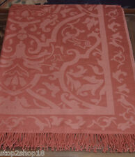 "Sferra Amaro Damask Throw Merino Wool/Silk Auburn Red Fringed 51x71"" New"