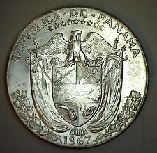 1967 Silver Panama Half Balboa Cinquenta Centesimos Coin Bu
