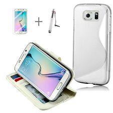 WHITE Wallet 4in1 Accessory Bundle Kit S TPU Case For Samsung Galaxy S6 Edge