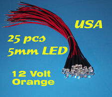 25 pcs  LED - 5mm PRE WIRED LEDS 12 VOLT ~ ORANGE ~ 12V PREWIRED