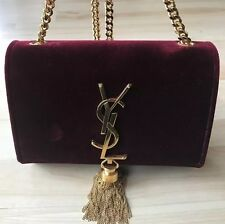 Auth SAINT LAURENT Bordeaux Velvet YSL Gold Tassel & Chain Purse Bag Burgundy Sm