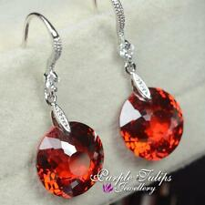 Round Button Ruby Swarovski Crystal Dangle Earrings,18K White Gold Plated
