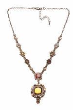 VINTAGE STYLE ANTIQUE GOLD NECKLACE, COLOURFUL ELEMENTS, DROP PENDANT(ZX50)