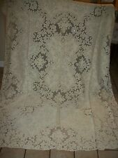 "VINTAGE FLORAL QUAKER / FILET  LACE TABLECLOTH  IVORY COLOR SIZE  65"" x 89"" INCH"