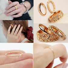 New 3Pcs/Set Fashion Women Gold Rose Craving Finger Midi Alloy Ring Jewelry Gift