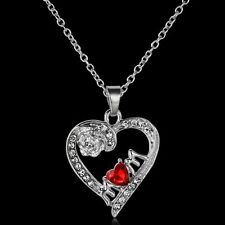 MOM Red Swarovski Element Crystal Flower Heart Silver Pendant Necklace Gift P17