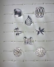 JOB LOT 8 Large SILVER Plated STATEMENT RINGS Christmas Stocking Fillers