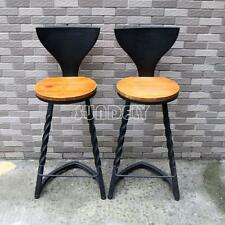 2 Industrial urban bar stool wooden top shabby vintage kitchen tractor seat New
