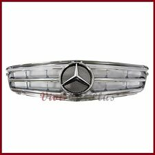 All Chrome 3 Fins Front Replaced Grille For 08-14 BENZ W204 C200 C300 C350 Sedan