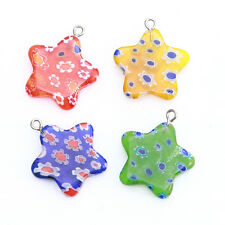 15x 145649 New Arrive Mixed Colorful Print Flowers Star Crafts Lampwork Pendants