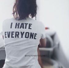 "Brandy Melville white Ali ""I Hate Everyone"" graphic top NWT"