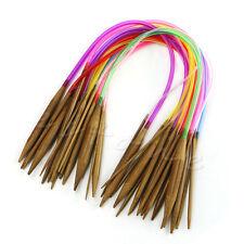 """18 Taille 16 """"40cm Tube circulaire carbonisées bambou Aiguilles à tricoter"""