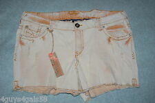 Womens Jean Shorts FADED ORANGE TINT Washed Out Denim AMETHYST Destroyed SIZE 16