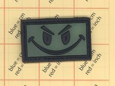 GREEN PVC GITD ANGRY SMILE FACE Military Tactical Morale PATCH EVIL SMILEY BADGE