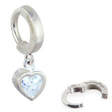 TummyToys Silver CZ Heart Dangle Belly Button Ring Sexy snap on body jewelry