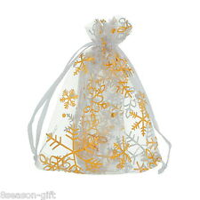 25pcs 9x12cm Gold Snowflake White Organza Wedding Favours/XMAS Gift Bags
