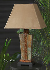 "STATELY 29"" CARVED SLATE TABLE LAMP HAMMERED COPPER ACCENTS READING LIGHT"