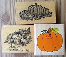 Lot of 3 Thanksgiving Rubber Stamps PSX D-213 Hero Arts Pumpkins Fall Autumn