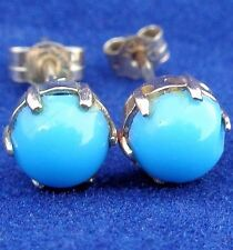 Vintage/ Antique 9ct Gold and Turquoise Cabochons Stud Earrings Claw Set