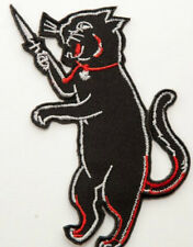 Black Alley Cat Blade Iron on Patch Embroidered Dagger Punk Rockabilly Costume