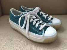 CONVERSE TEAL SUEDE PLATFORM SNEAKERS RETRO VINTAGE 90'S WOMENS SIZE 6