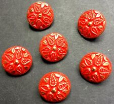6 Vibrant Red and Gold Flower 1.4cm Vintage Buttons