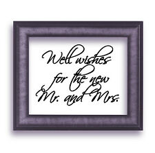 "Well wishes for the new Mr. and Mrs.Script Wedding Vinyl Sticker Decal 6""h x 8""w"