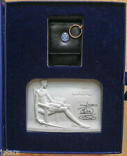 LLADRO DON QUIXOTE BISQUE PLAQUE and LEATHER KEY HOLDER BOX SET, LLADRO SOCIETY
