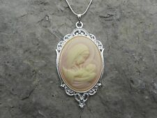 STUNNING VIRGIN MARY/BABY JESUS CAMEO NECKLACE! QUALITY--GREAT GIFT!!!