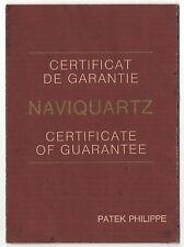 Vintage PATEK PHILIPPE Certificate of Guarantee for NAVIQUARTZ Certificato OEM