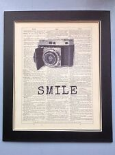 Smile Camera Inspirational Quote Gift Antique Dictionary Book Page Art #102