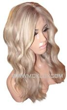 "Human Hair Wig Front Lace 18"" Long Blonde 9 60 Ash Brown Roots Highlight Moklox"