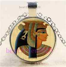 Egypt Cleopatra Cabochon Glass Tibet Silver Chain Pendant Necklace