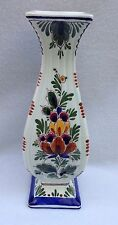 "Delft Pottery Signed Vase DP 54 Flower Floral 10"" Hand Painted Holland"