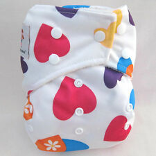 Kawaii Premium Label Organic Bamboo One Size Pocket Diaper, Red Hearts