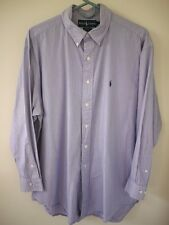 Ralph Lauren Polo Yarmouth Blue Ticking Striped 100% Cotton Long Sleeve Shirt L