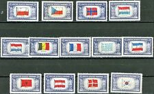 Flags of Overrun Nations Complete MNH Set of 13 1943 to 44 Scott's 909 to 921