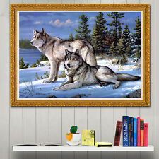 Wolf Couple Gazing Diamond Embroidery 5d Diamond DIY Painting Cross Stitch Craft