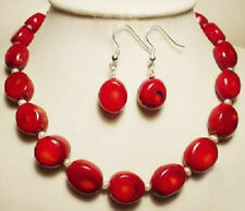 Fashion Jewelry White Akoya Pearl & red coral necklace earrings Set