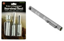 5-in-1 Compact Survival Tool Silver Compass Punch Striker Flint Whistle