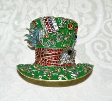 "NIB $200 HEIDI DAUS ""Mad Hatter"" Alice Looking Glass Pin Enamel and Crystals"