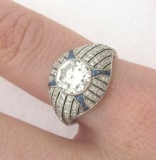 Superb Art Deco Style 1.68 Center Diamond Platinum Diamonds Sapphires Ring