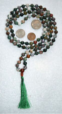 Indian Agate Onyx Hand Knotted 8mm 108+1 Buddhist Mala Beads Necklace -Energized