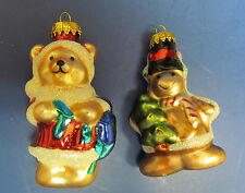 Set of 2 Vintage Blown Glass Christmas Ornaments GINGER BREAD MAN & BEAR