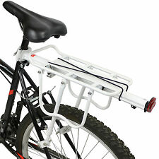 PEDALPRO STRONG ALLOY WHITE REAR BICYCLE PANNIER BAG/LUGGAGE RACK REFLECTOR BIKE