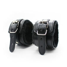High Quality Black Leather Bondage Fur Ankle Cuffs - kinky fetish restraint sexy