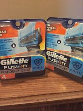 2 GILLETTE FUSION PROSHIELD CHILL 4 CARTRIDGES Total Of 8