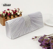 women Party Prom Bridal Wave Pleated Rhinestone Evening Clutch Bag HandBag Purse